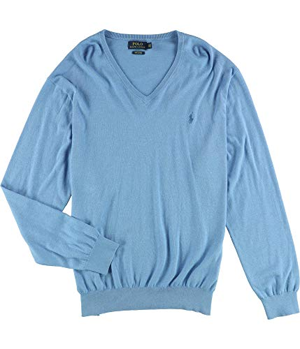 Polo Ralph Lauren Mens Pima Cotton V-Neck Sweater NanBlue, M (Ralph Lauren Pima Cotton Polo Long Sleeve)