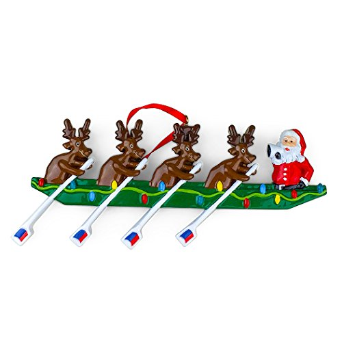 - ChalkTalkSPORTS Rowing Reindeer | Crew Resin Christmas Ornament