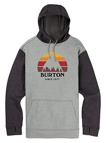 Burton Men's Oak Pullover Hoodie, Monument Heather/True Black Heather, Medium