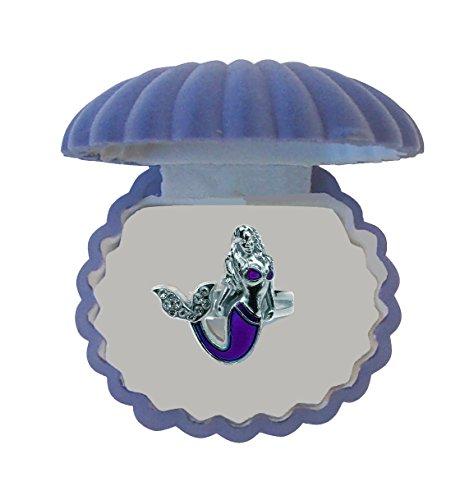 Mermaid Mood Ring with Velvet Shell Ring Box (Blue (Mood Rings Blue)