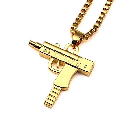 "Grenf Fashion 18k Gold Silver Plated Mens Hip-hop Machine Gun Necklace with 24"" Inch Box Chain Pistol Pendant for Boy Girl (Gold)"