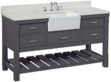 Charlotte 60-inch Single Bathroom Vanity Quartz Charcoal Gray Includes Charcoal Gray Cabinet with Stunning Quartz Countertop and White Ceramic Farmhouse Apron Sink