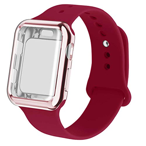 RUOQINI Smartwatch Band with Case Compatiable for Apple Watch Band, Silicone Sport Band and TPU Case for Series 4/3/2/1,Rose Red Band with Rose Pink Case in 40 ML Size ()