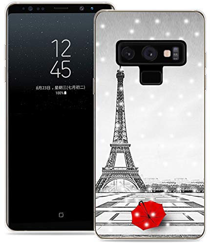 Note 9 Case Eiffel Tower/IWONE Protective Durable TPU Rubber Fashion Designer Cover Skin Compatible for Samsung Note 9 for Galaxy Note9 + Get Lost in Paris Creative Romantic Eiffel Tower Design ()