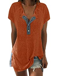 af03e0f7d045 FORUU Women Short Sleeve Loose Casual Button Blouse V Neck T Shirt Tank Tops