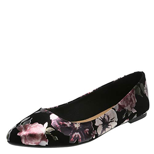 Christian Siriano for Payless Shimmer Black Floral Women's Gigi Point Flat 11 ()