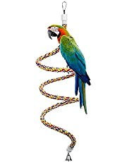 Abestbox Bird Spiral Rope Bungee Perch - 45.7 inches, Cotton Parrot Swing Toys, Bird Climbing Standing Rope with Bell
