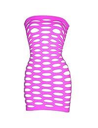LoveFifi Women's Black Light Neon Queen Tube Dress