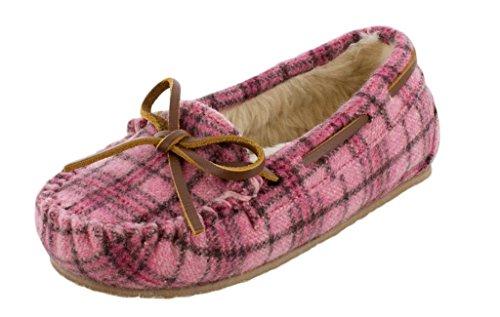 Minnetonka Kids Baby Girl's Cassie Slipper (Toddler/Little Kid/Big Kid) Pink Plaid (Minnetonka Shearling Boots)