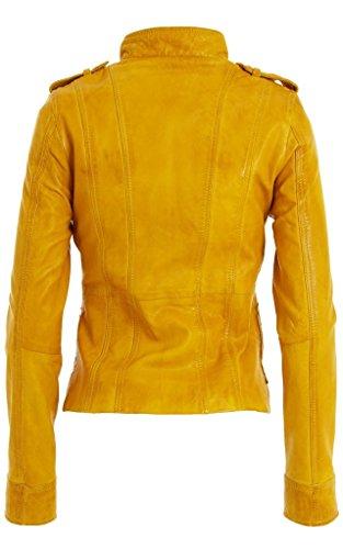Mujeres de las señoras clásico amarillo suave de la manera del cuero de Nappa entallada chaqueta Roca