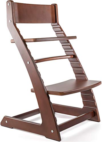 Walnut Chair High (Heartwood Adjustable Wooden High Chair Dark Walnut Color for Babies and Toddlers Highchair from 24 Months)