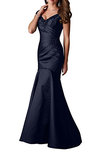 Damen Lang Figurbetont Abendkleider Elegant Schleppe Geraft Trumpet Satin V Ballkleider ausschnitt Blau Navy Charmant mit R1wqfw