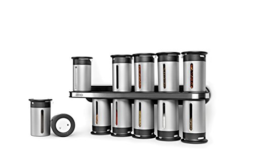 Zevro Wall - Zevro KCH-06100 Zero Gravity Magnetic Spice Rack with 12 Canisters