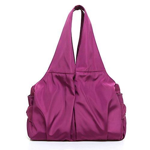 Women Shoulder Bag Handbag Tote Large Capacity Water-Resistant Shopper Nylon Multi Zipper Pockets (Violet)