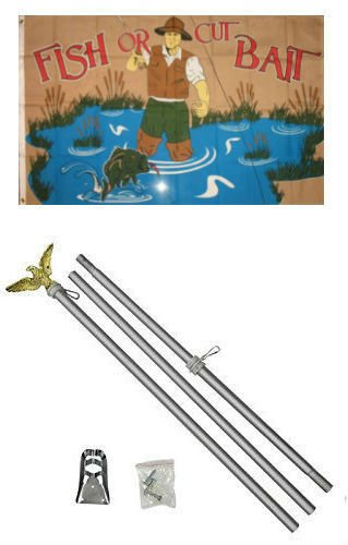 3x5 Fish Or Cut Bait Fishing Flag Aluminum Pole Kit Set PREMIUM Vivid Color and UV Fade BEST Garden Outdor Decor Resistant Canvas Header and polyester material FLAG