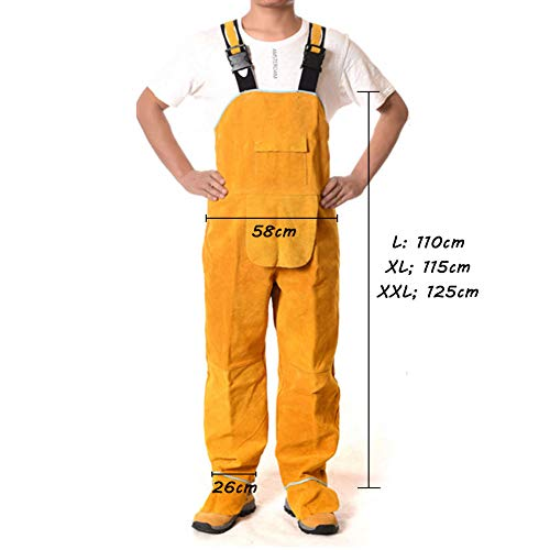 LAIABOR Welding Apron bib Jumpsuit Overalls Protective Foot Safety Apparel for Electrical Weld, Cutting, Casting, Lathe, Steel, Smelting Retardant wear Resistant,Yellow,XXL by LAIABOR (Image #6)