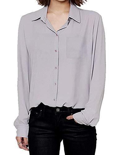 Camicie Donna Eleganti Moda Puro Colore Chiffon Blusa Manica Lunga Bavero Single Breasted Sciolto Classiche Tempo Libero Business Ufficio Shirts Camicie Bluse Camicetta Donne Grau