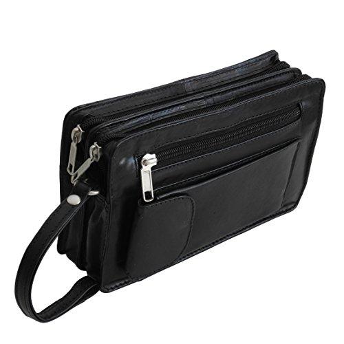 Bag Street Leder - exquisite Leder Herren Handgelenktasche , Herrentasche , Handtasche , Doppelkammer in verschiedenen Farben verfügbar - präsentiert von ZMOKA® (Schwarz)