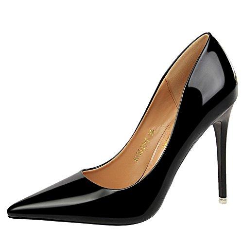 MissSaSa Damen high heel step Pointed toe Lack-Pumps Schwarz