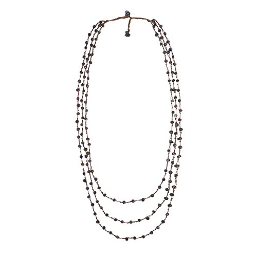 Freshwater Orient Pearl Necklace - AeraVida Pearl Orient Cultured Freshwater Black Pearl Triple Strand Necklace