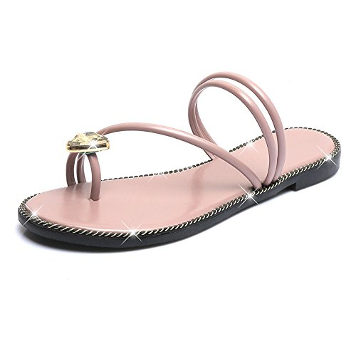 KHSKX-Water Drill On The Flat Bottom And Dragging Korean Sandals Women'S New Summer Toes Women'S Shoes Super Comfortable And Soft Bottom Flat Bottom Leisure Forty xgYrLYX