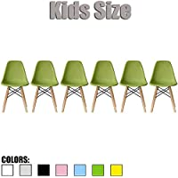 2xhome - Set of Six (6) - Green - Kids Size Eames Side Chairs Eames Chairs Green Seat Natural Wood Wooden Legs Eiffel Childrens Room Chairs No Arm Arms Armless Molded Plastic Seat Dowel Leg
