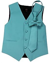 Boy's Tuxedo Vest, Zipper Tie & Bow-Tie Set in Teal