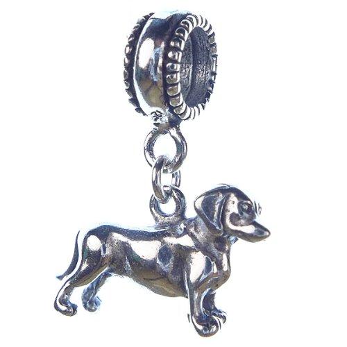 Weiner Dachshund Medium Sterling Silver Dangle Dog Charms