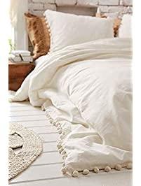 white pomfringe duvet cover full