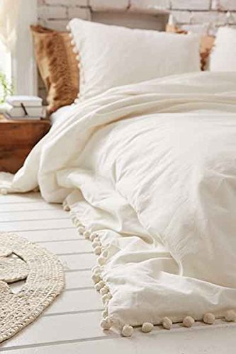 Flber White Pom-Fringe Duvet Cover King Queen, Queen Size, 86in x 90in (86in x 90in)