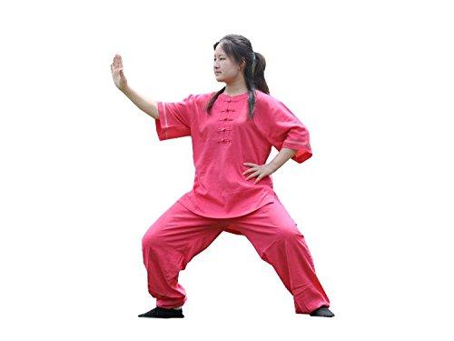 Womens Cotton Linen Taichi Suits Kungfu Costume Morning Exercise half-Sleeve Uniform