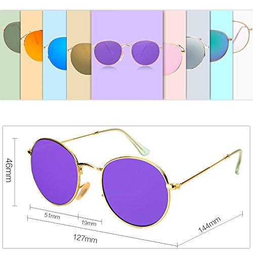 SJ1014 Gafas Polarizado Redondo Lentes Clásico Portección UV Dorado SOJOS de Sol C4 unisex Espejo Brillo Purpura 7Azx0q