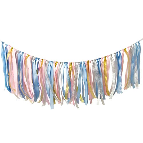 Cieovo Assembled Fabric Ribbon Banner Cotton Tassel Garland Bunting Pink Princess for Wedding Bridral Shower Bachelor Party Engagement Decorations Party Supplies Backdrops Photo Props