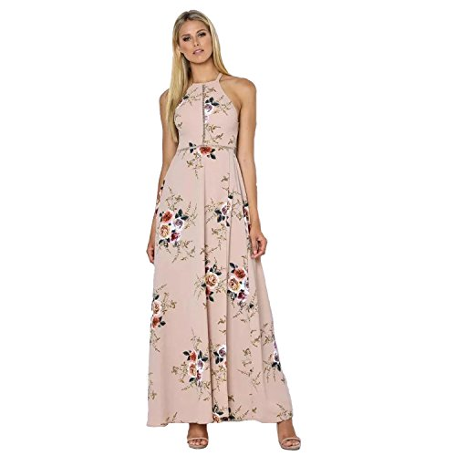 Women Sleeveless Lace Chiffon Dresses (Khaki) - 4