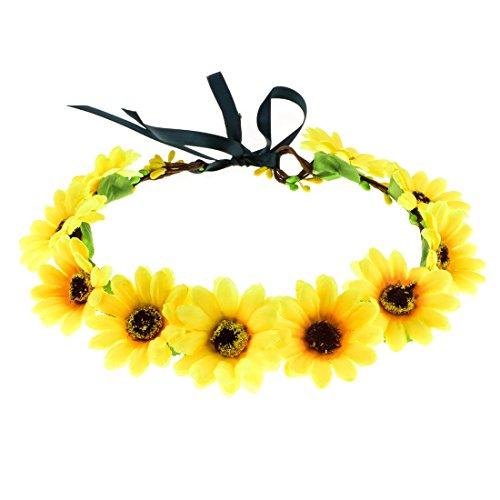Daisyu Sunflower Crown Hair Wreath Daisy Flower Headband Headpieces for Festival Party (Yellow-A)