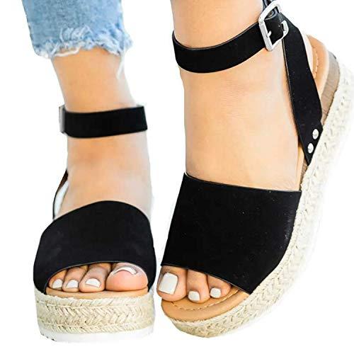 XMWEALTHY Women's Ankle Strap Platform Wedges Sandals Casual Open Toe Espadrilles Sandals for Summer Black US - Sandals Summer Black