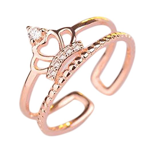 Freedi Women Open Rings Adjustable Diamond Crystal Crown Wedding Engagement Rings Jewelry (Cheap Gold Crowns)