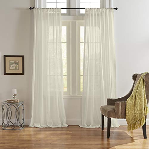 Elrene Home Fashions Asher Cotton Voile Sheer Window Curtain Panel, 52