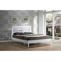 Wholesale Interiors Baxton Studio Solid Wooden Platform Base Bed Frame, Queen, White