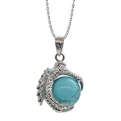 Dragon Claw Silver Tone Necklace Turquoise Beaded Gemstone for Women Men