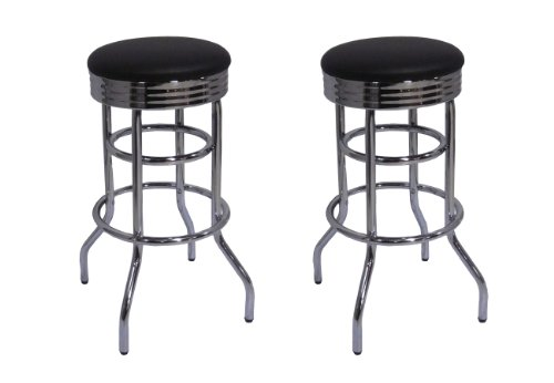 Trinity TWE-11012 Chrome Swivel Barstool 2-Pack Bar Stool, Black