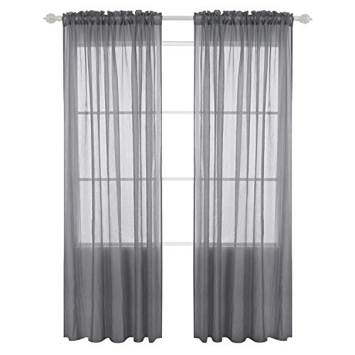Deconovo Rod Pocket 2 Panels Crushed Voile Draperies Sheer Curtains for Bedroom 52x96 Inch Gray