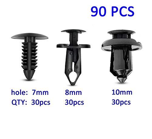 Michaelia 90pcs 7mm 8mm 10mm Nylon Bumper Push Fasteners Rivet Clips Expansion Screws Replacement Kit,Bumper Fastener Rivet Clips GM 21030249 Ford N807389S