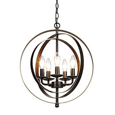 CO-Z Antique Bronze 5-Light Metal Industrial Globe Chandelier, Rustic Sphere Pendant Chandelier Lighting, Orb Hanging Ceiling Light Fixture for Dining Room Foyer Bedroom Kitchen Enterway Farmhouse
