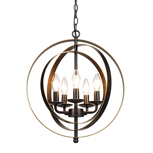 (CO-Z 5 Light Orb Chandelier, Sphere Orb Hanging Lights for Dining Room Entryway Foyer Kitchen Bedroom, Antique Bronze Rustic Sphere Industrial Globe Farmhouse Pendant Lighting Ceiling Light Fixture)
