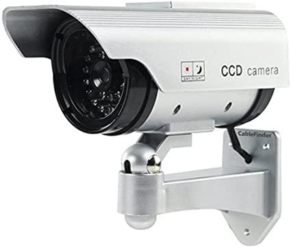 Dummy Solar Battery Powered CCTV Security Camera In//Outdoor red LED 2400 Silver