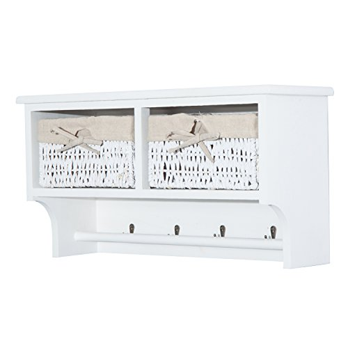 "HomCom 24"" Hanging Entryway Cubbie Storage Shelf w/ Baskets and Hooks - White - Cubbie Wall Storage"