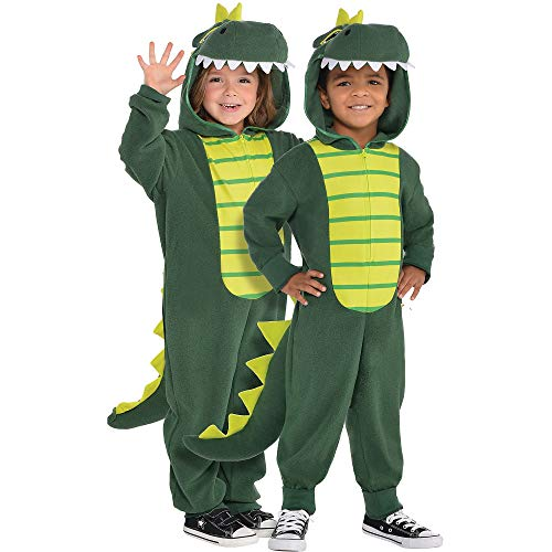 AMSCAN Zipster Dinosaur One Piece Halloween Costume for Toddlers, 3-4T, with Attached Hood and Tail -