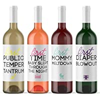 8 Mommy Milestone Wine Labels - Baby Shower Gift Pregnancy Present for Mother-To-Be Pregnant Woman Funny Milestone Firsts | First Mommy Meltdown | DIY Wine Bottle Stickers for Gift Basket Made in USA