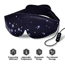 Heated Eye Mask - USB Dry Eye Mask, Electric Heating Eye Mask, Far-Infrared Therapy, Adjustable Temperature, Sleeping Heated Eye Mask, Sleep Mask for Dry Puffy Eyes